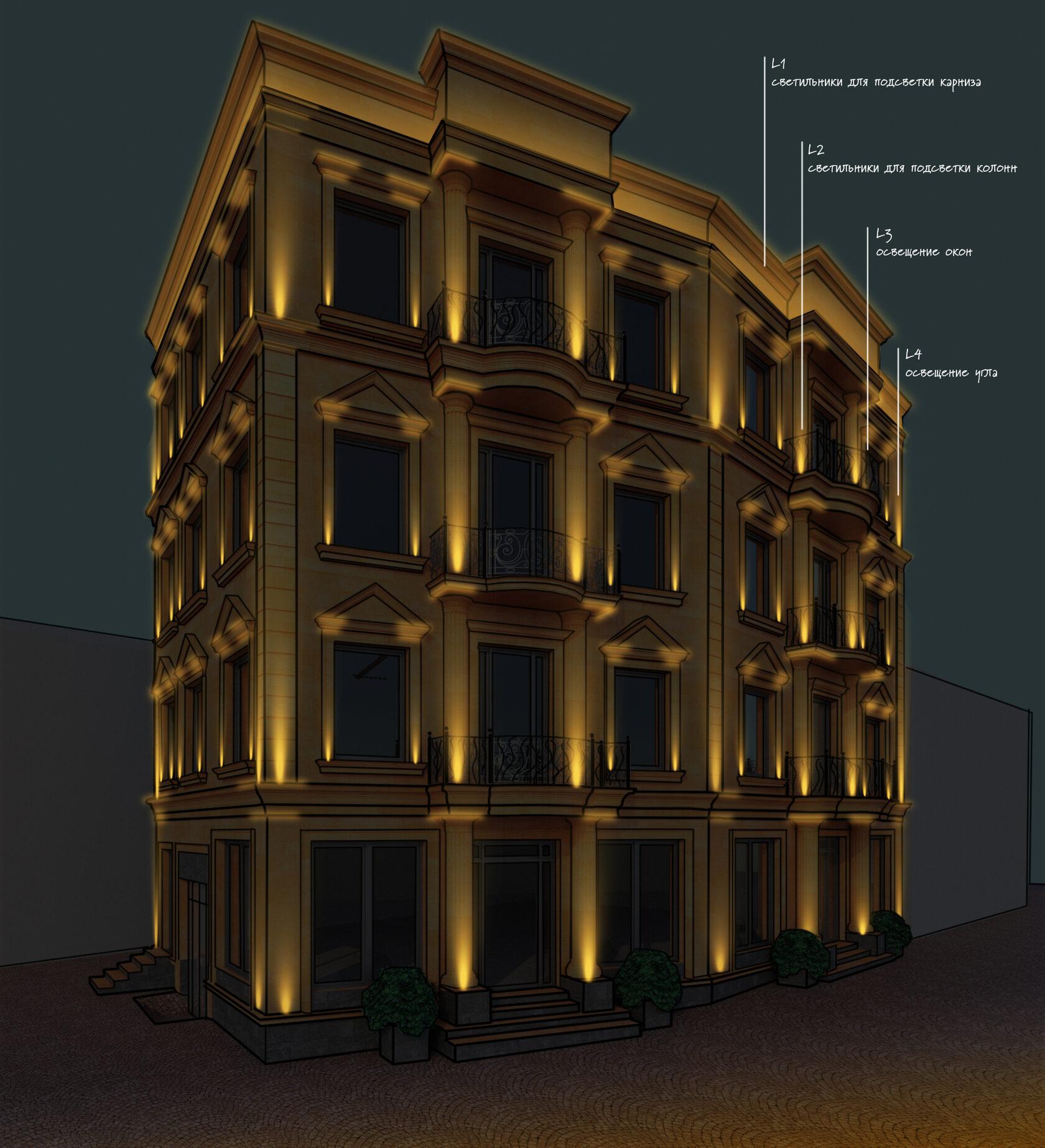 Визуализация фасадного освещения