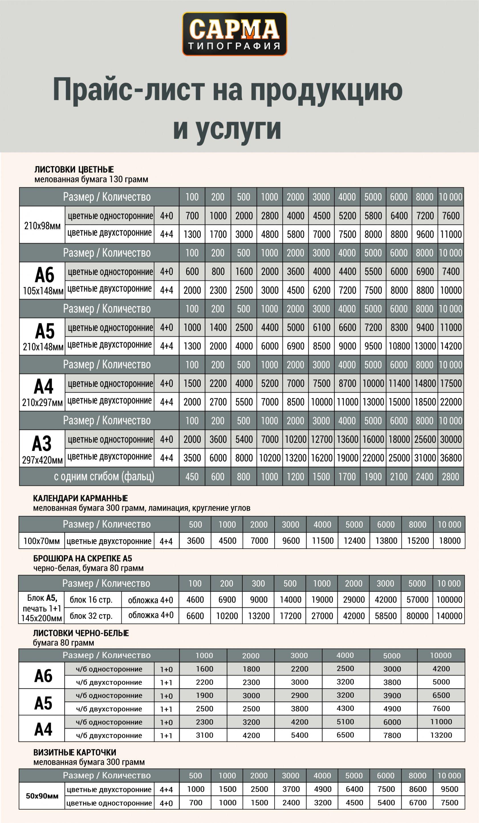 Цены на печать визиток, календарей, брошюр, листовок в Москве. Дешевая печать и типография в Москве.