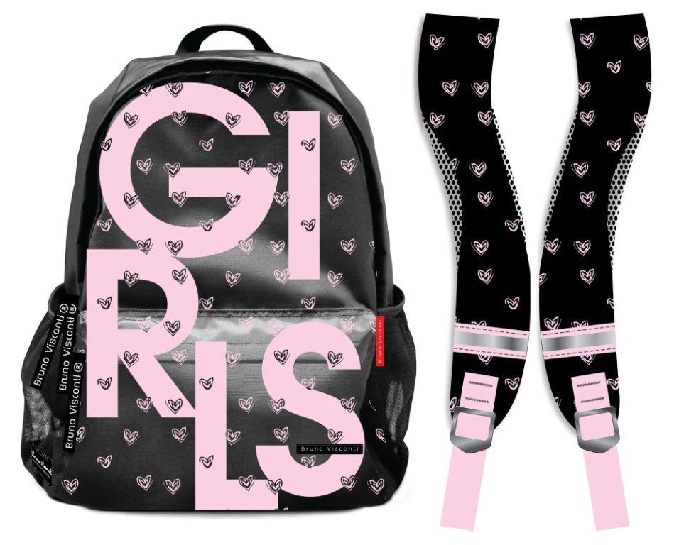 09899ef92ef3 Рюкзак Bruno Visconti серии Teens для школьников 7-11 класса - Girls черный