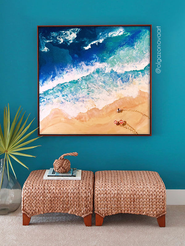 Surfers on the beach. Ocean painting by Olga Zonova. Ocean Art. Sea painting