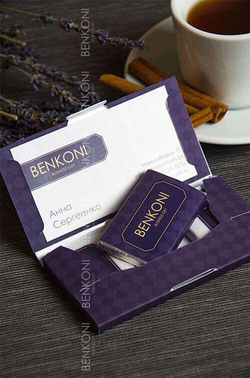 Визитка с тремя шоколадками в упаковке с полноцветной печатью