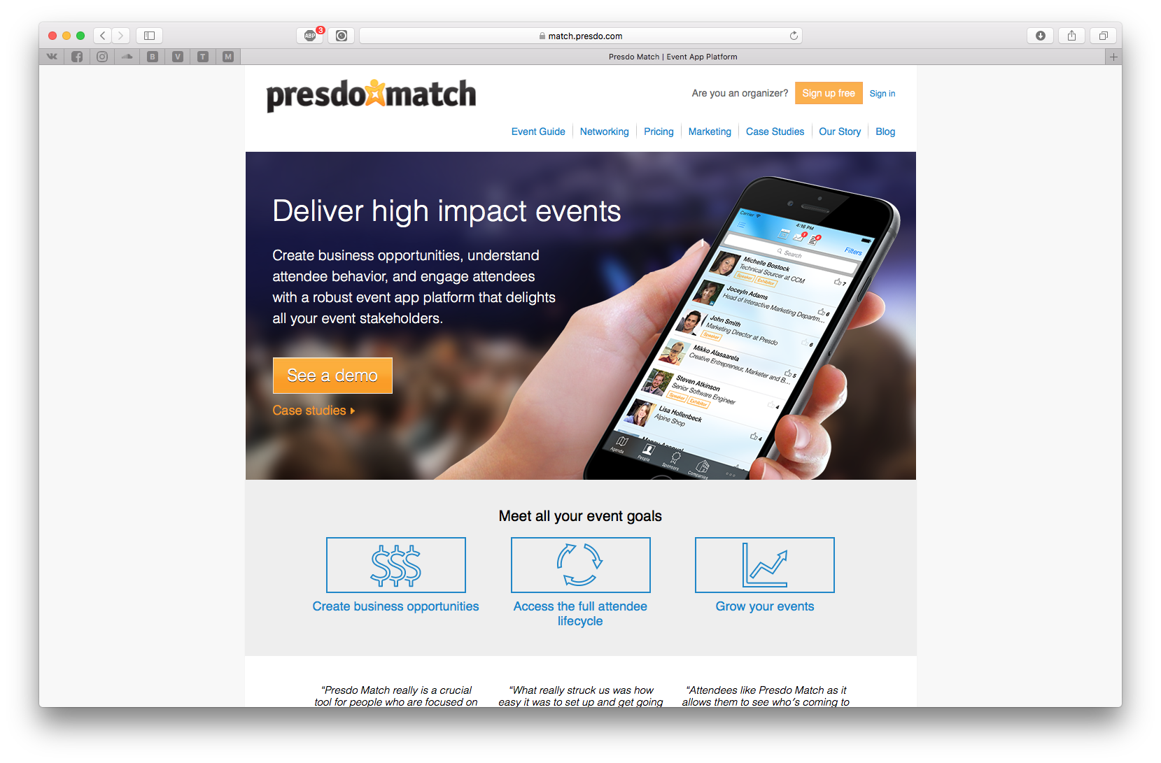 Presdo Match allows event organizers to create business opportunities, understand attendee behavior, and engage attendees with a robust event app platform that delights all your event stakeholders