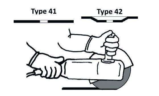 Использовать только для резки круги Тип 41, Тип 42.