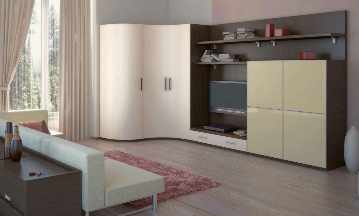 С радиусными элементами шкафы для гостиной на заказ от произ.