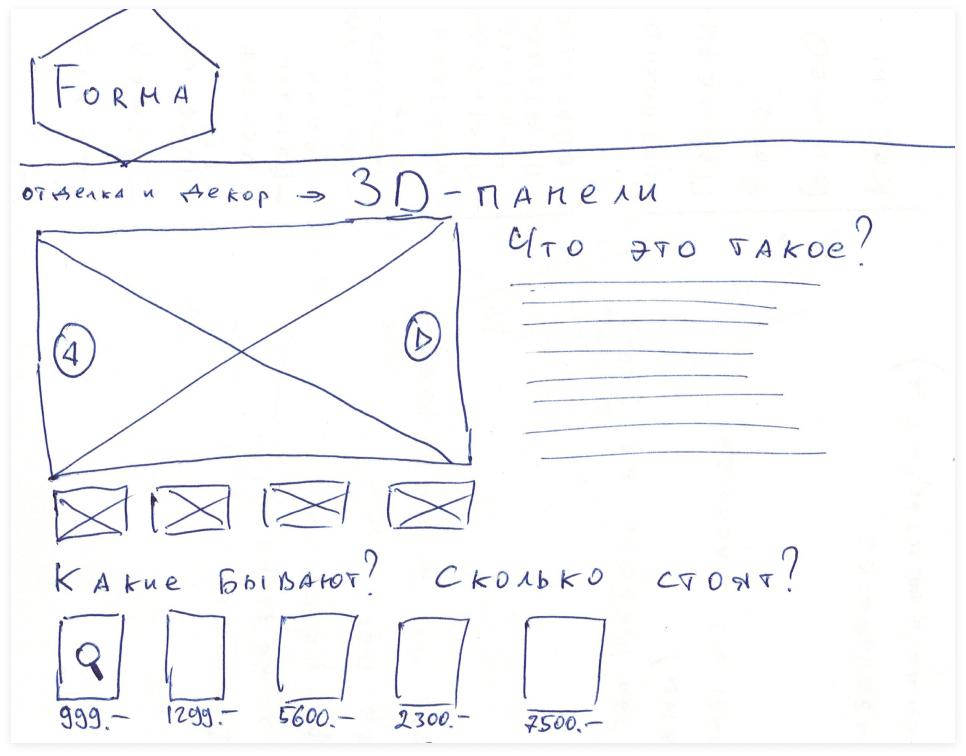 Бумажный набросок будущего интерфейса | Sobakapav.ru