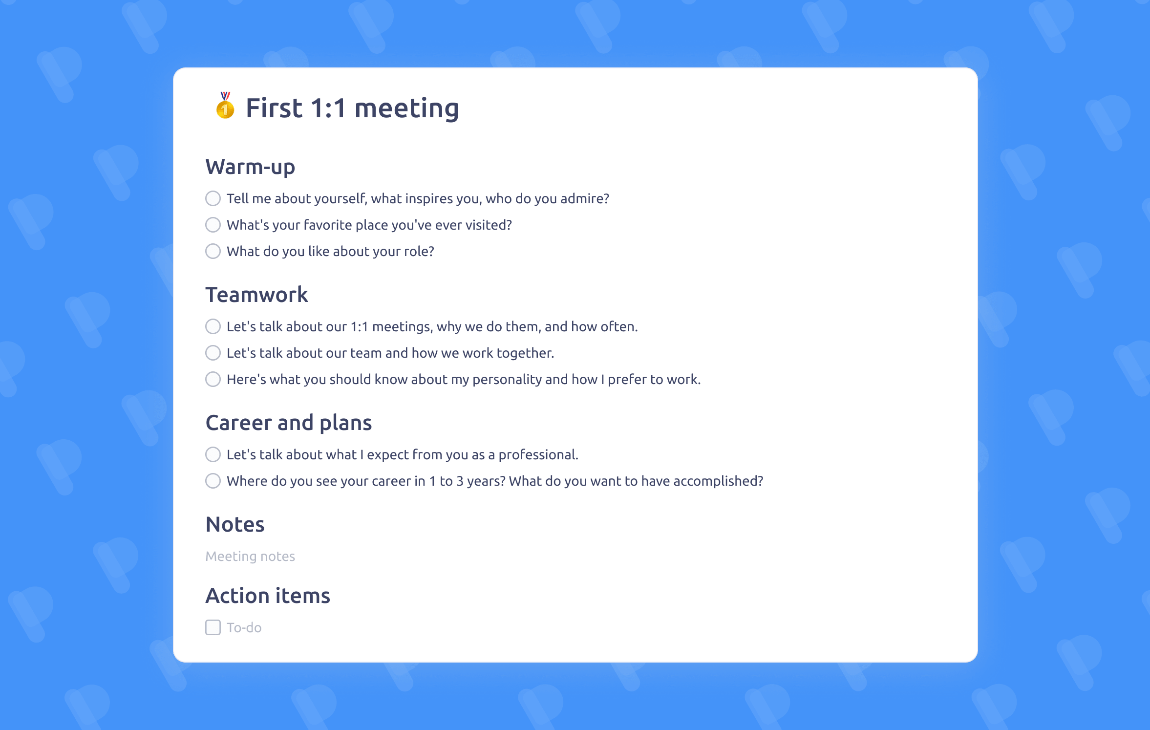 First One-on-One meeting template