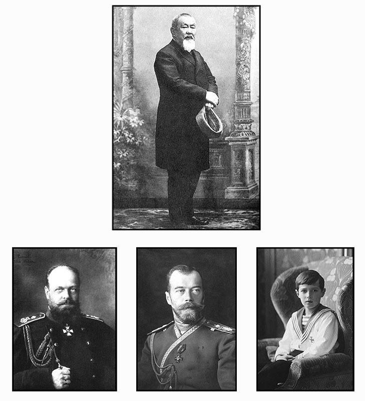 Петр Бадмаев (сверху), Слева направо: Александр III, Николай II и его сын — цесаревич Алексей