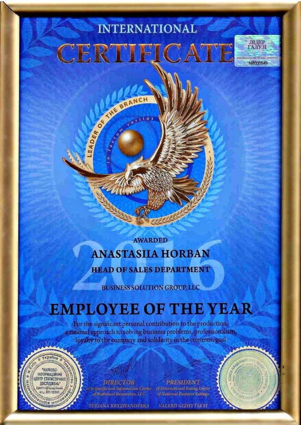 certificate employee of the year
