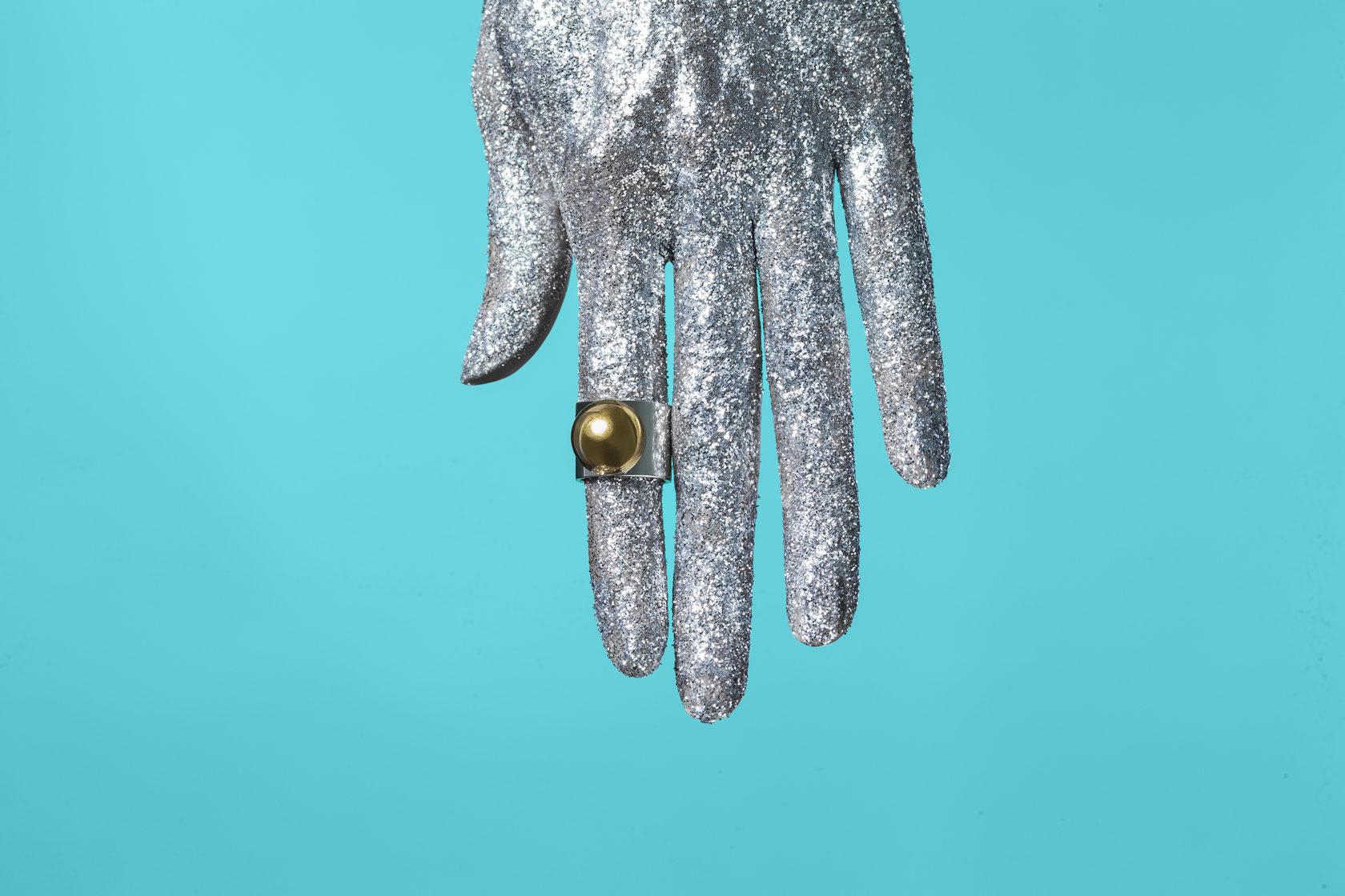 Серебренное кольцо с золочением. Bubbles коллекция. Яркое весомое украшение в вашем стиле.
