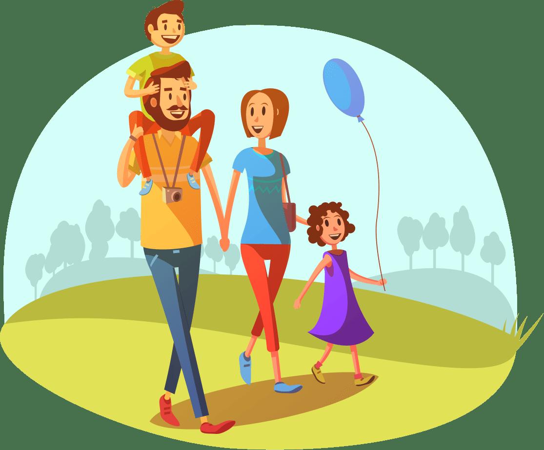 Картинки семья на прогулке для детей