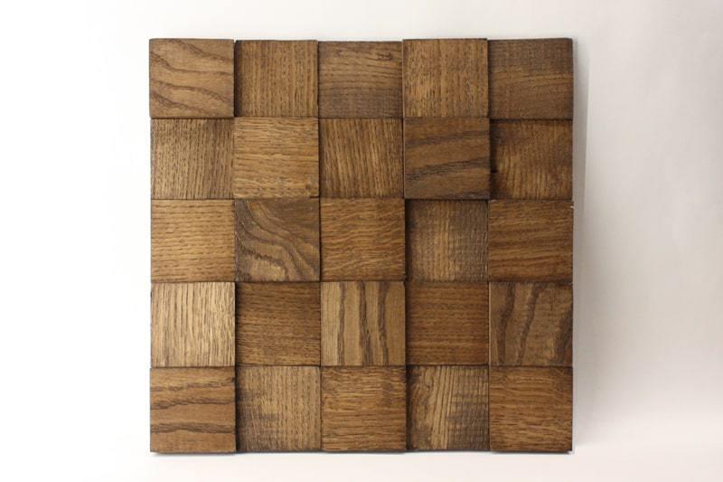 Деревянная 3D мозаика шлифованная из дуба цвет дуб