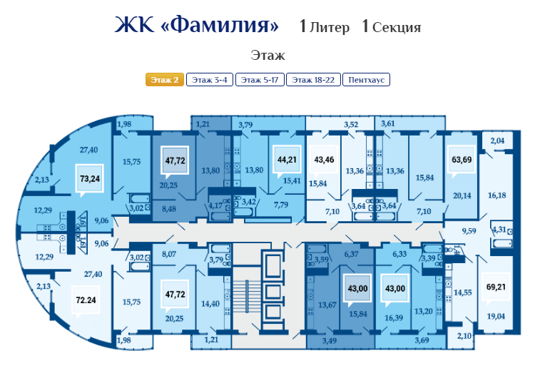 Планировки квартир ЖК Фамилия папа-мама
