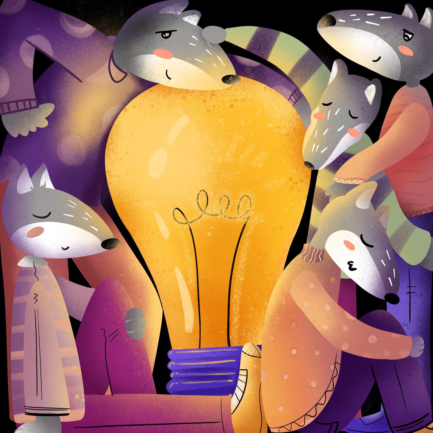 Staya Production иллюстрация волки вокруг идеи