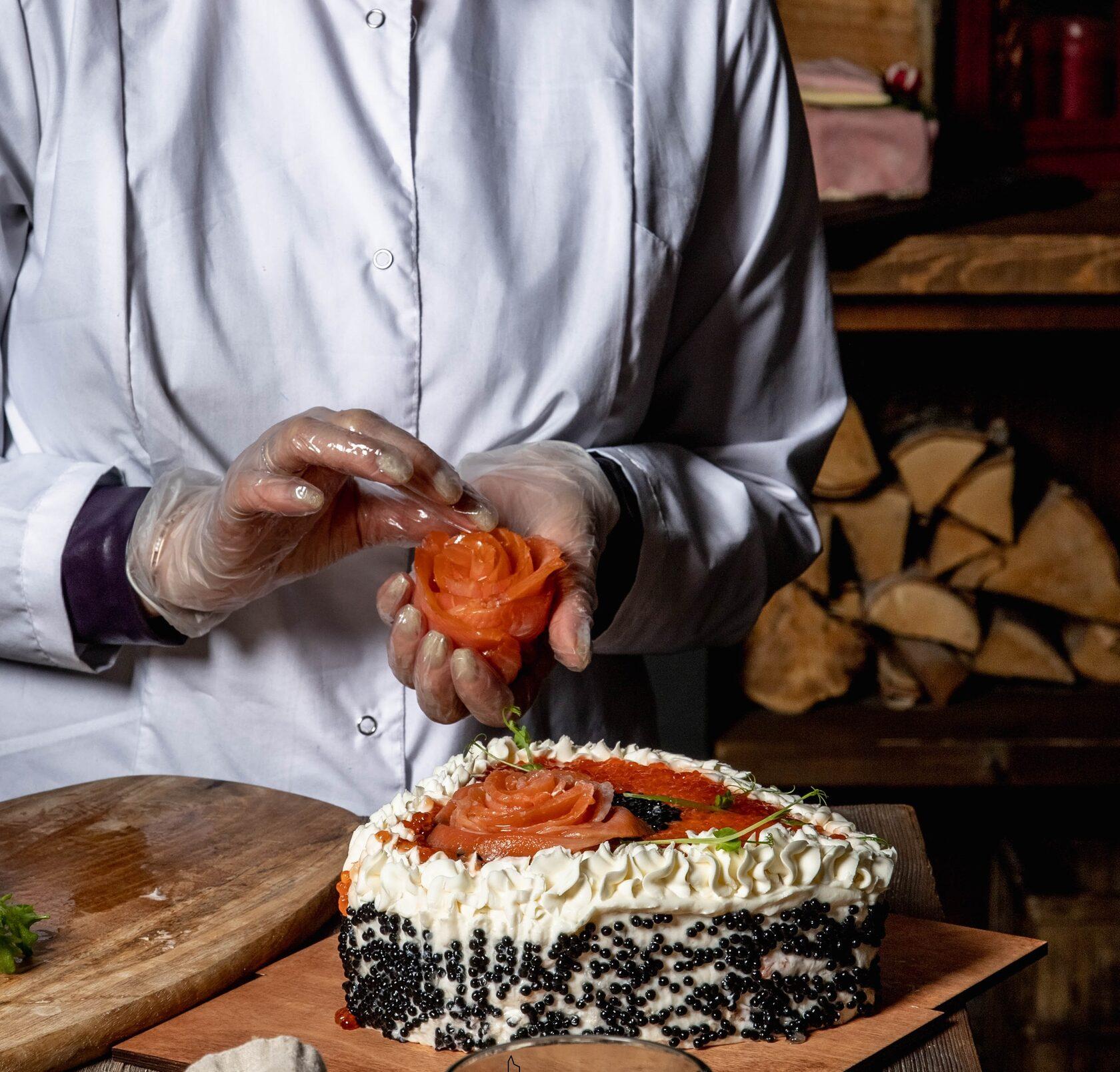 рыбный торт, торт с сёмгой, торт с икрой, торт с треской, торт мимоза, торт с рыбой