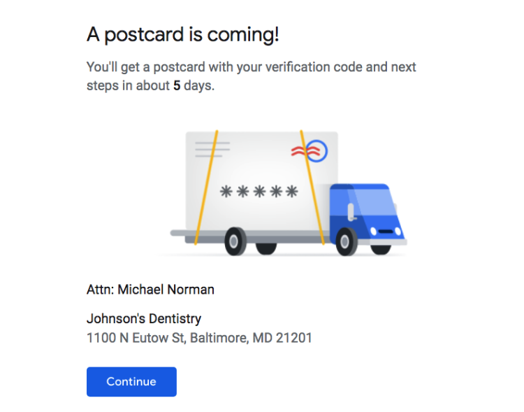 verify postcard is coming