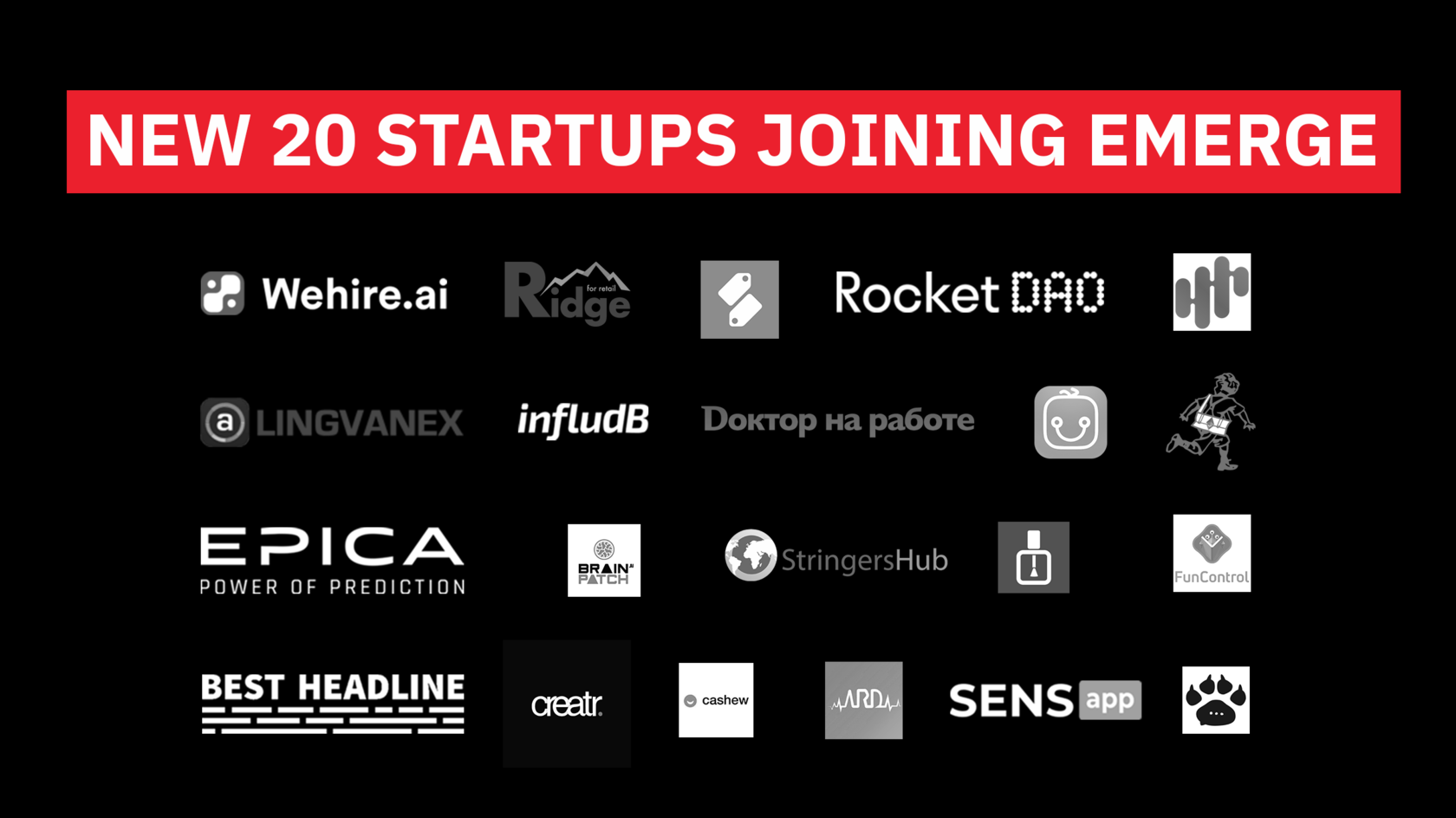 First 20 selected startups to join EMERGE 2019 – Innovation Tech