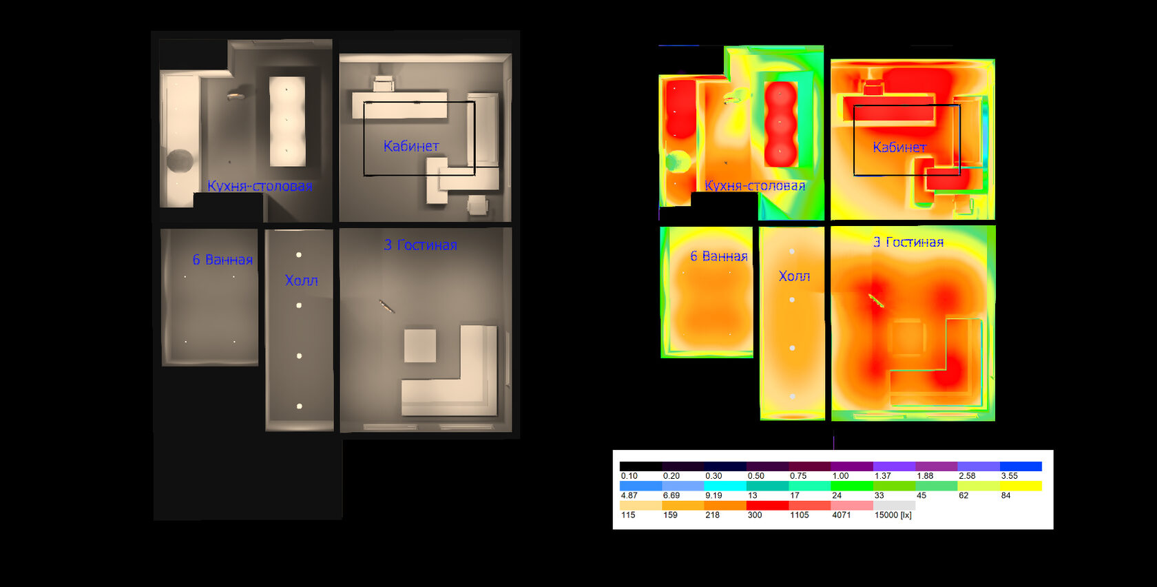 Расчет освещения на первом этаже