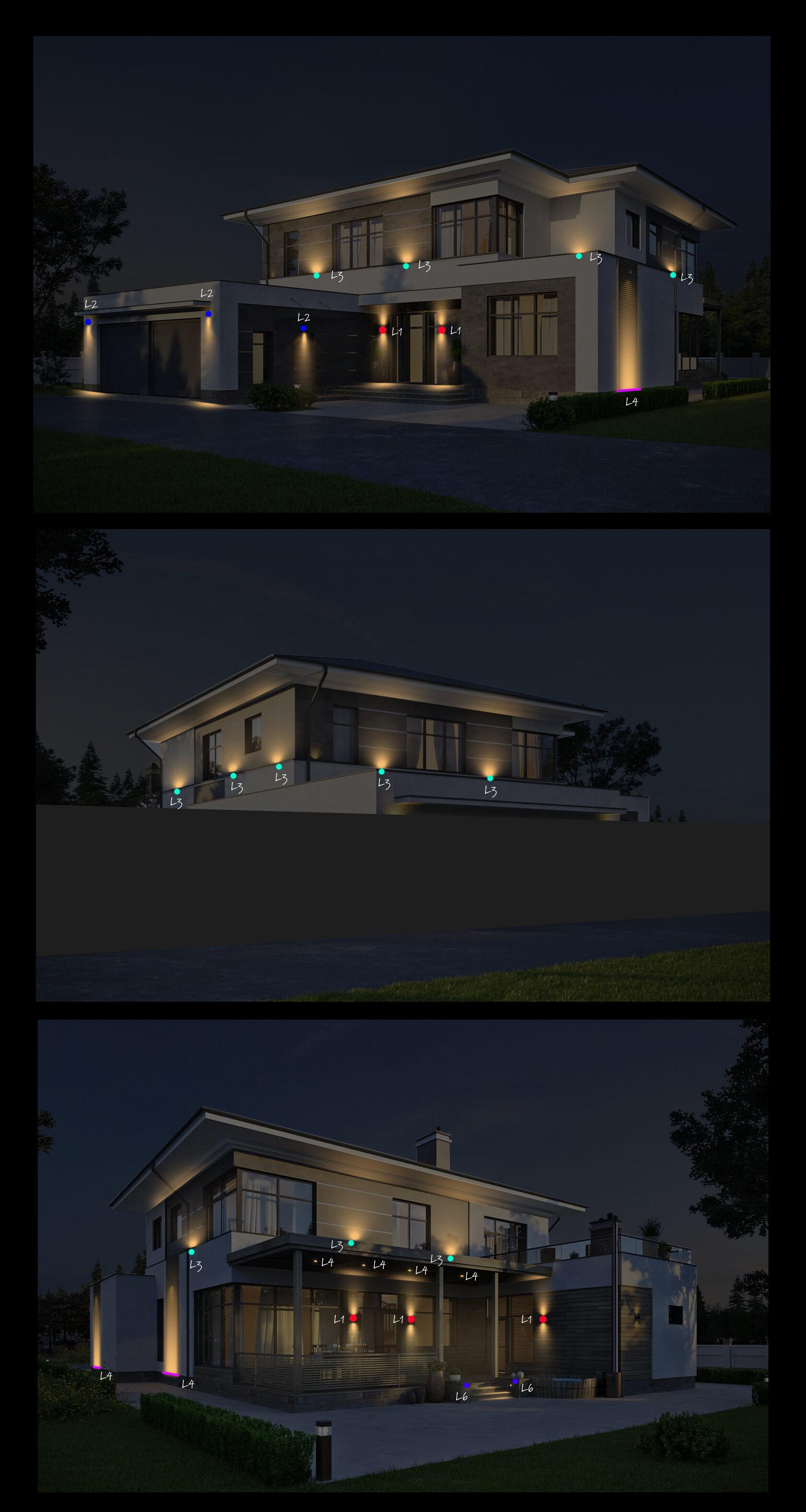 Схематичная расстановка светильников