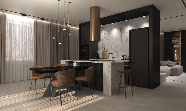 Проект кухни-гостиной, Уссурийск