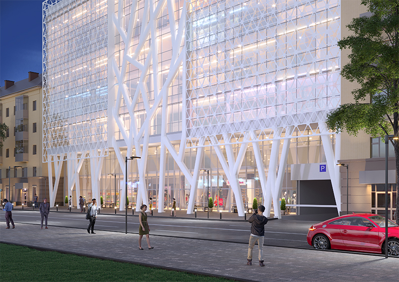 8-поверховий торгівельно-офісний центр з підземним паркінгом