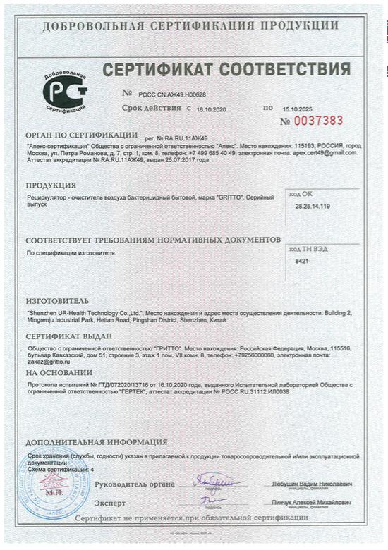 Сертификат Соответствия для рециркуляторов-очистителей воздуха марки GRITTO (рекомендовано Роспотребнадзором)
