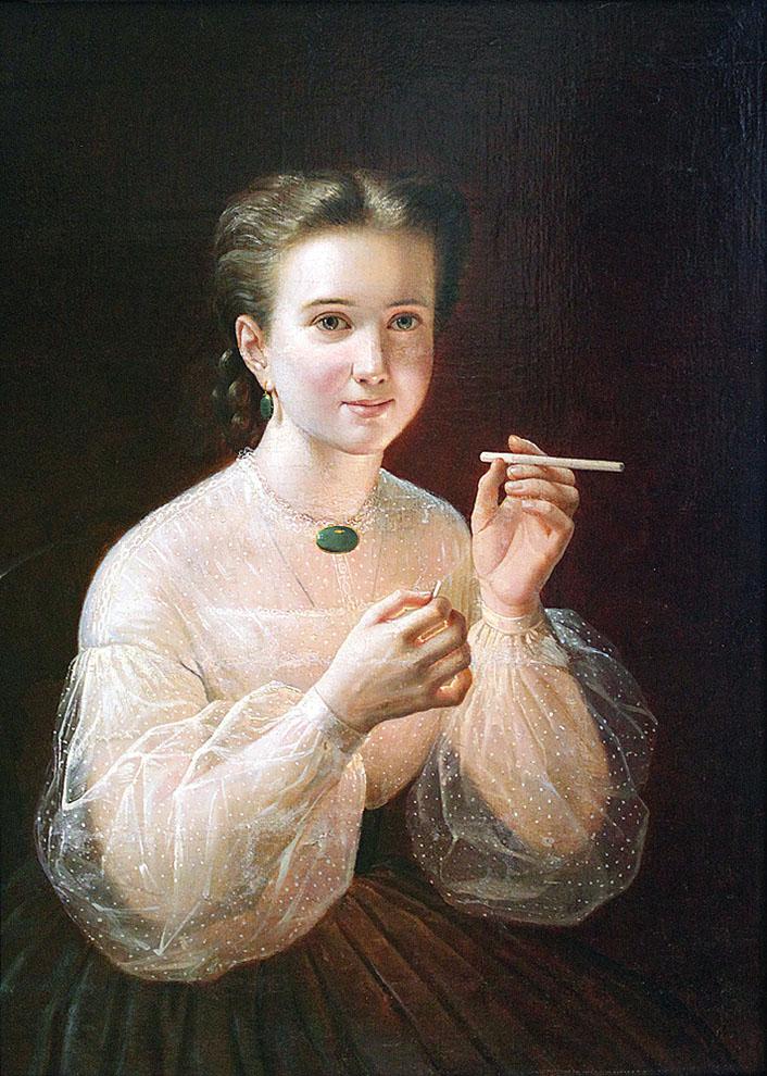 Петр Заболоцкий. «Девушка с папиросой» (1850)