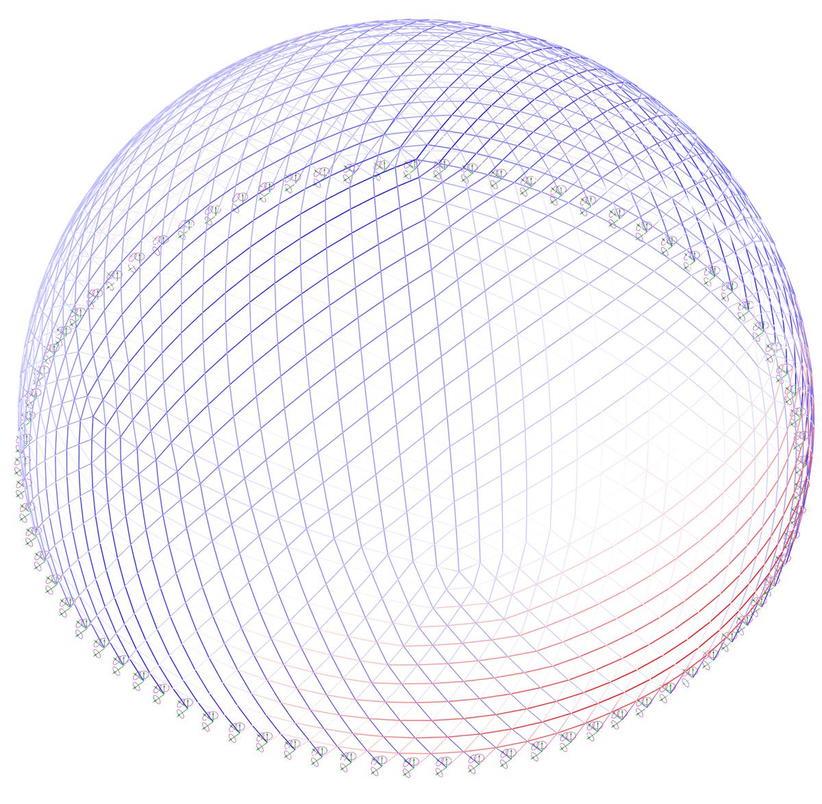 диаграмма напряжений купола под действием ветровой нагрузки