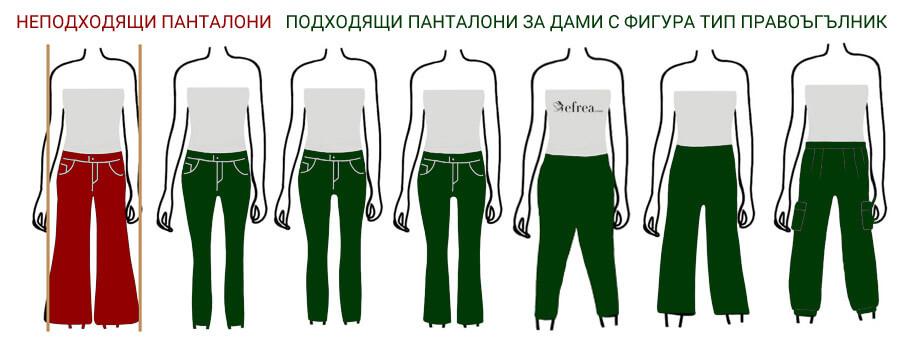 Дамски панталони за фигура тип правоъгълник с липса на ясно изразена талия. Виж още модни съвети и тенденции от Ефреа - български производител на дрехи.