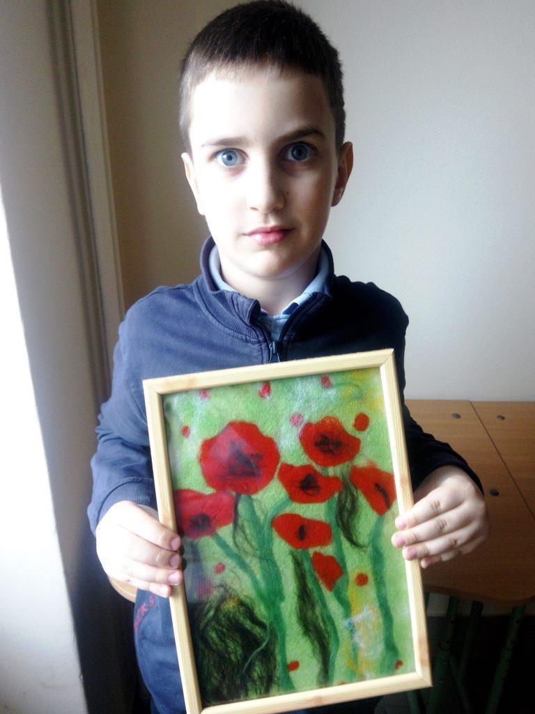«Весна», картина виконана в техніці малювання шерстю