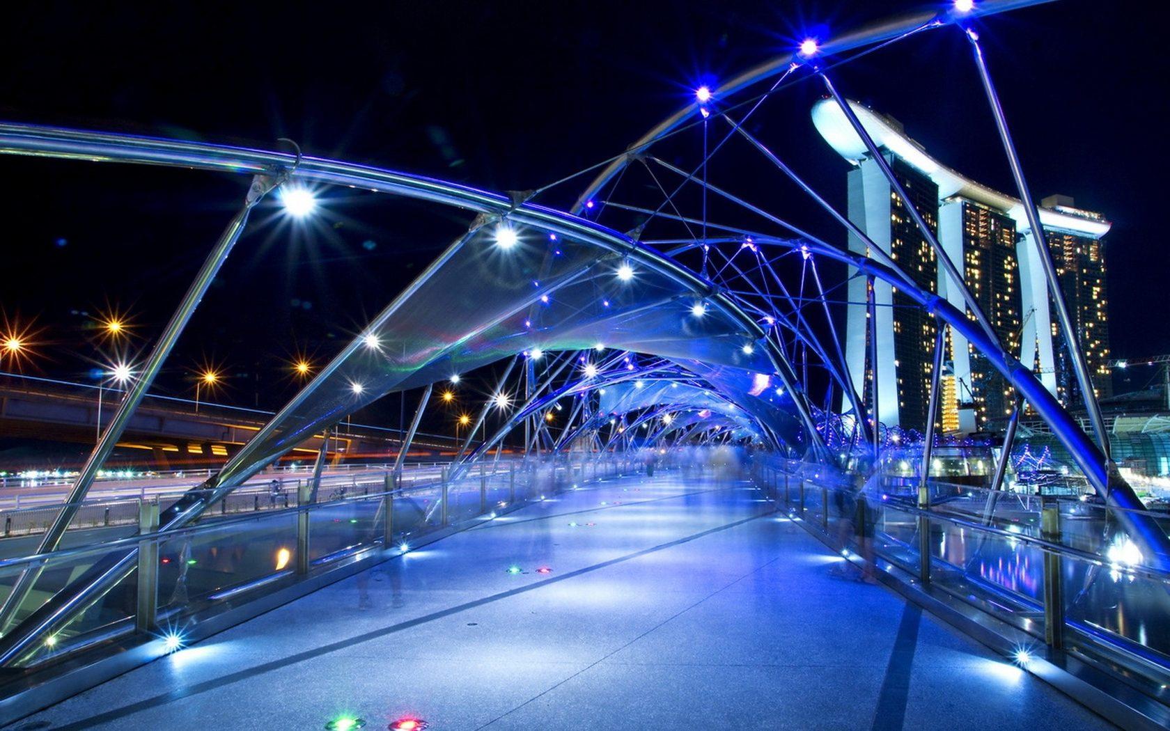 Обои Вода, красота, набережная, ночь, шоу, красота, освещение. Города foto 9