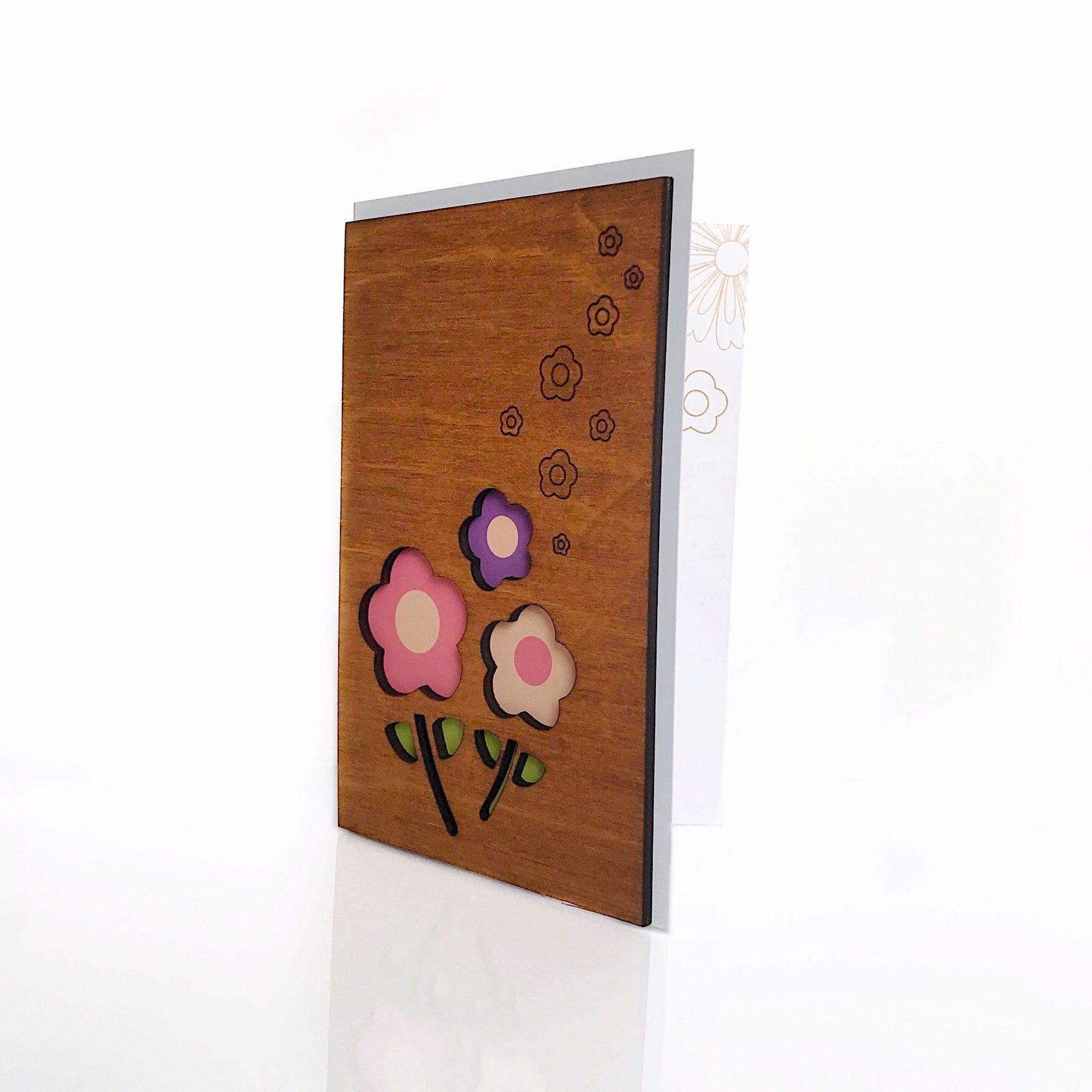 """Деревянная открытка WOODCARD.BZ """"Цветы"""""""