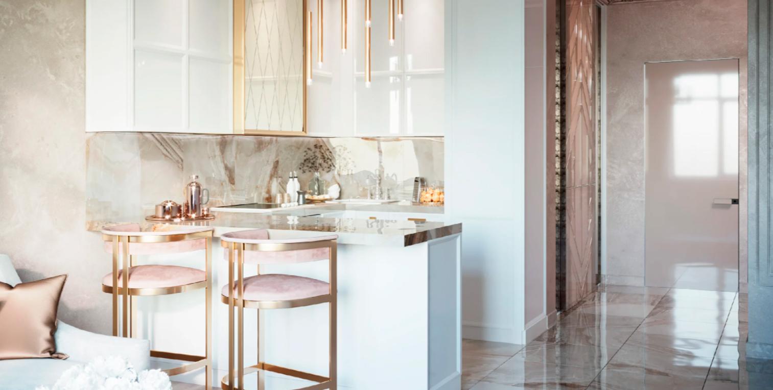 Дизайн белой кухни в стиле Неоклассика