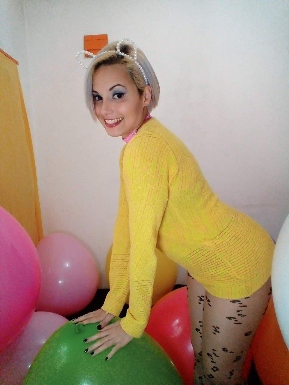 Sitting on balloons