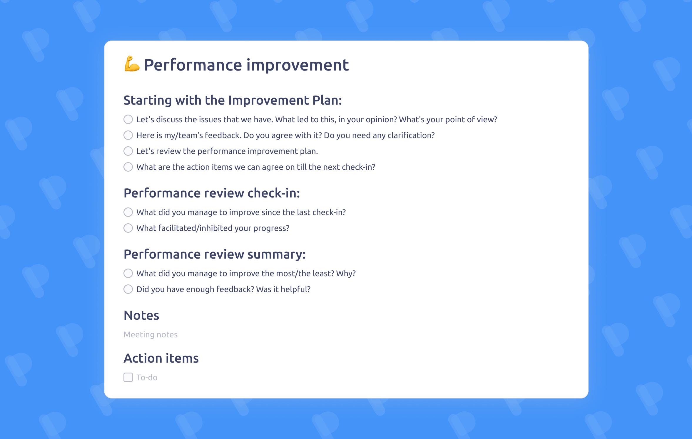 Performance improvement meeting template