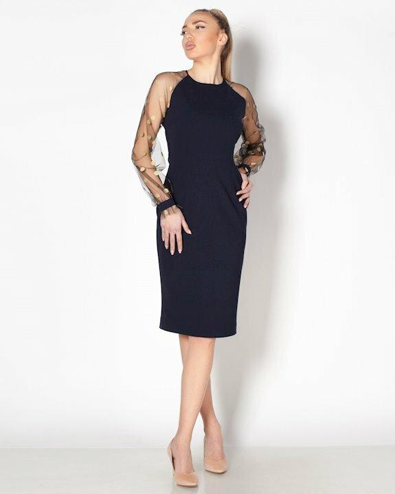 Вталена дамска рокля в тъмносиньо, почти черно с ефектни дълги ръкави, подходяща за офиса.