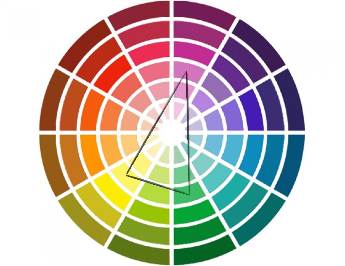 Цветовой круг Иттена, способ: раздельно-комплиментарное сочетание
