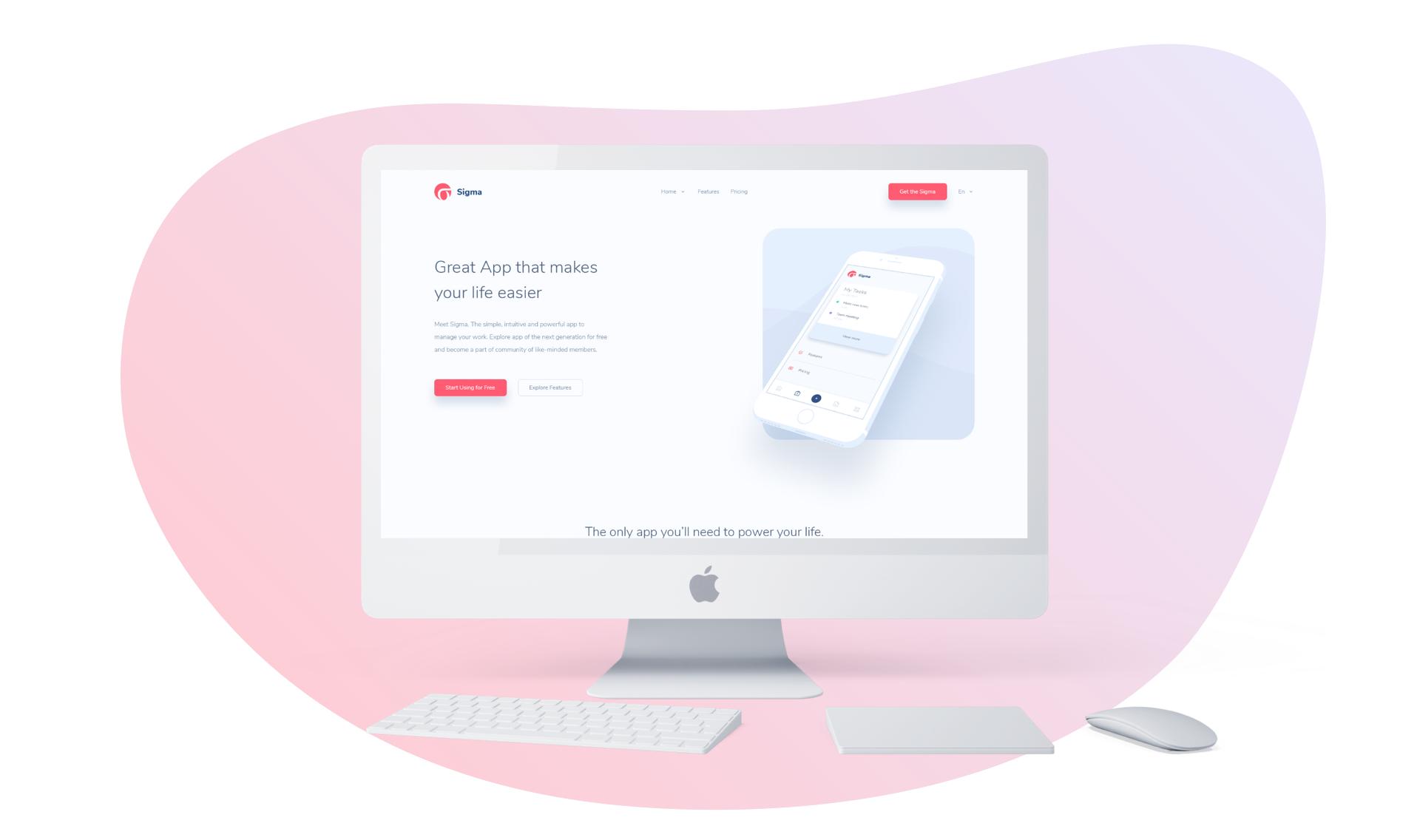 Sigma — App Showcase PSD Template