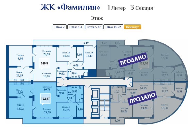 Планировки квартир ЖК Фамилия литер 1 секция 3 пентхаус