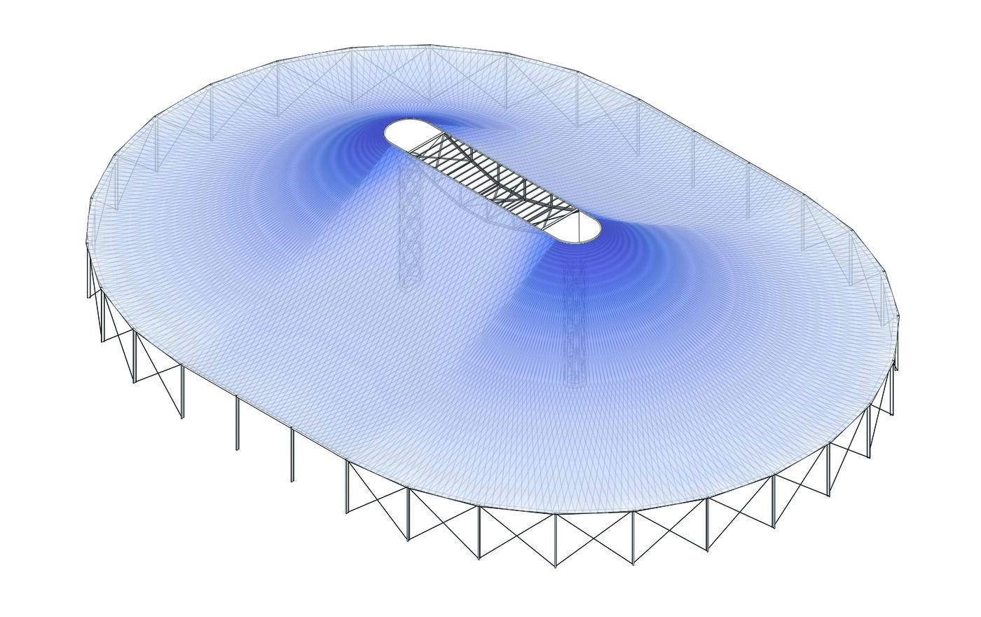 расчетная схема покрытия овального павильона в Нижнем Новороде