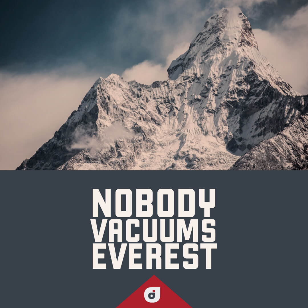 Picture of Mount Everest with phrase: Nobody vacuums Everest