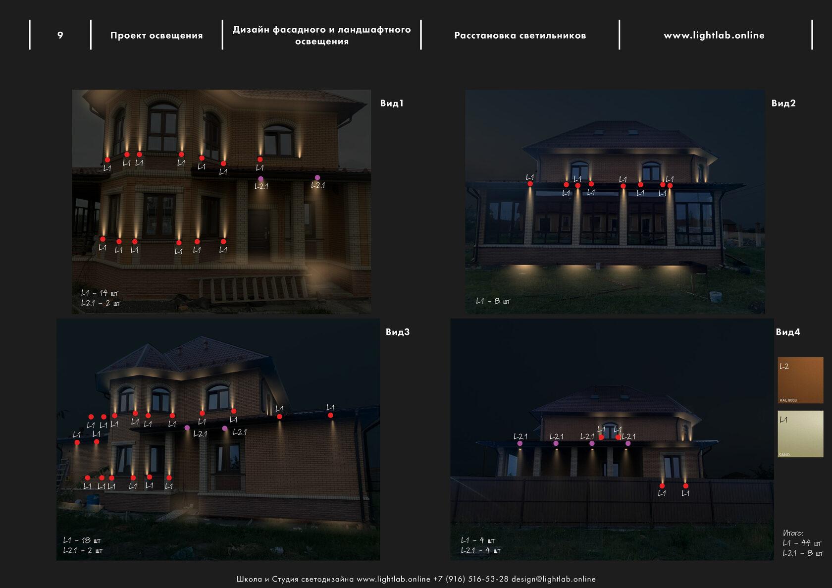 Визуализация освещения и расстановка светового оборудования на фасаде дома