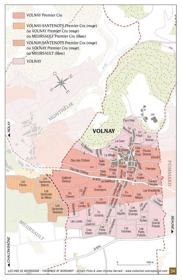 Vineyard map of Volnay climats
