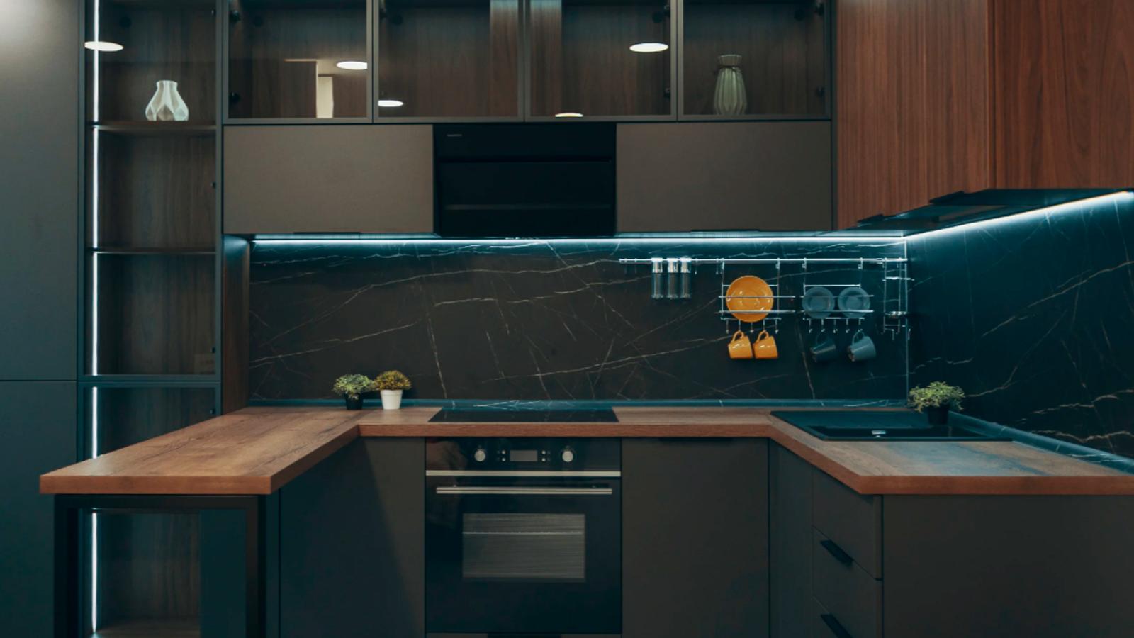 Дизайн серой кухни в современном стиле