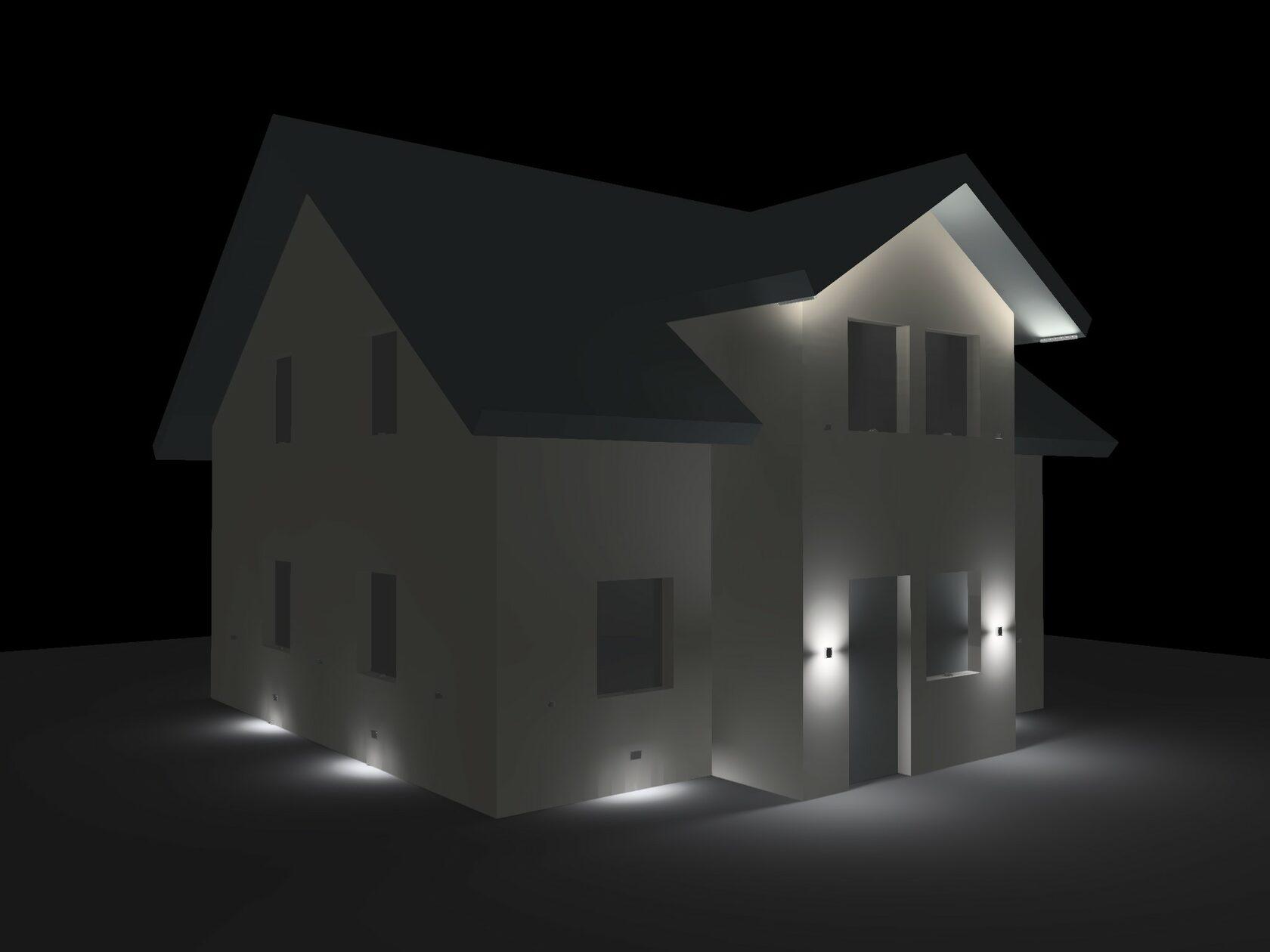 Сцена 2. Все светильники включеныВходная зона, навигационное освещение, карниз
