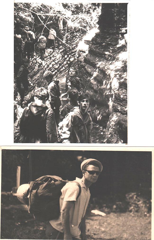Д.П. Медведев с группой учащихся в походе