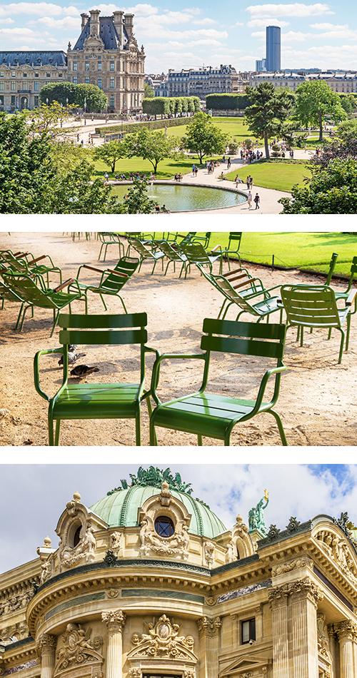 Сад Тюильри в летний солнечный день утопает в зелени