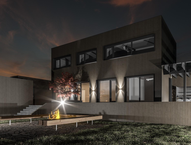 визуализация, архитектурный проект дома, плоская кровля, окна в пол, современный, красноярск
