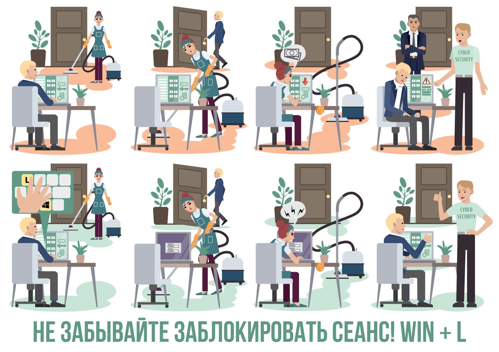 Иллюстрации по информационной безопасности. Не забывайте заблокировать сеанс. WIN + L