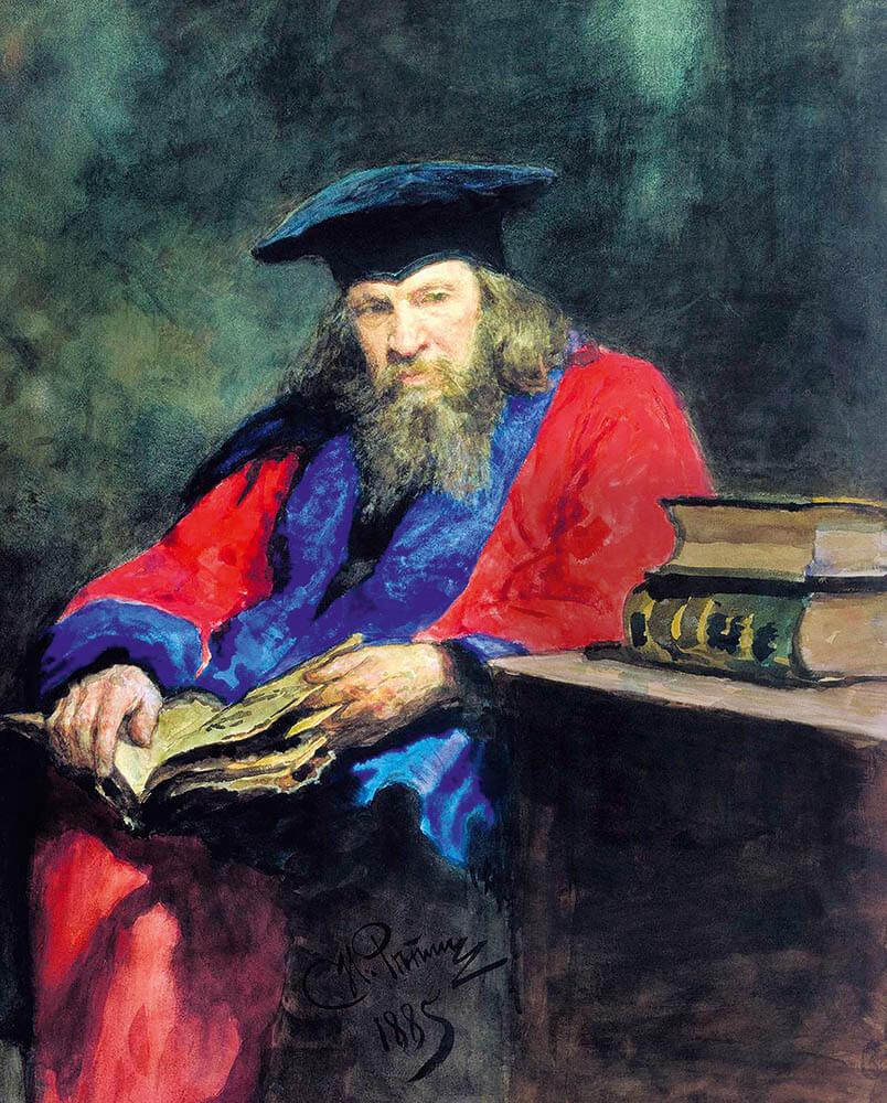 Илья Репин «Портрет Д. И. Менделеева в мантии доктора права Эдинбургского университета» (1885)