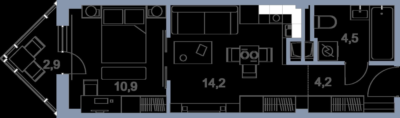 Планировка 2-комнатной квартиры в ЖК Первый Зеленоградский